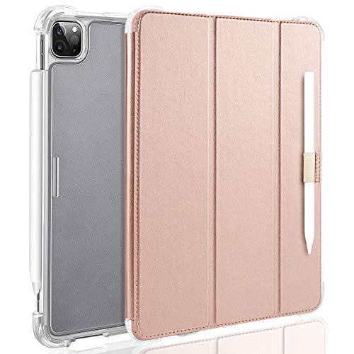 Valkit iPad Pro 12.9 Case 2018, Protective Smart Folio Stand Cases with Apple Pencil Holder, Auto Sleep/Wake, Support Apple Pencil Charging for iPad Pro 12.9 Inch 3rd Gen, Rose Gold