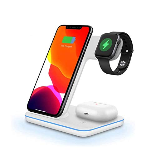 Wireless Charger Stand - 3 in 1 Qi 15W Fast Charging Dock Station for Apple Watch IWatch 5 4 3 AirPods Pro for iPhone 11 XS XR X 8, Best Gift for Your Families and F White