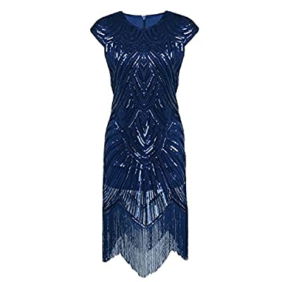 iShine Women's Flapper Dresses 1920s Great Gatsby Sequin Tassel Beaded Fringed Cocktail Flapper Dresses