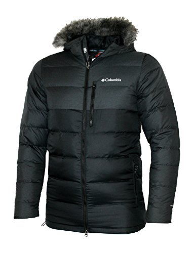 Columbia Mens Northridge Lodge 700 fill Down Hooded Omni Heat Winter Puffer Jacket (Black, L)