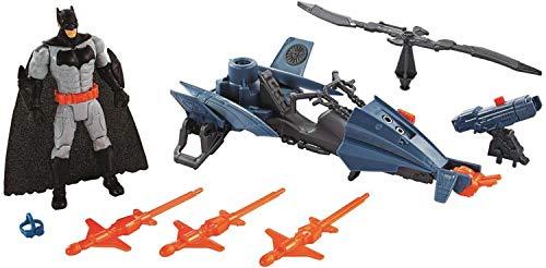 Mattel FNP65 DC Justice League Batman 15 cm Figur mit Batcopter Fahrzeug, Spielzeug Actionfiguren ab 4 Jahren