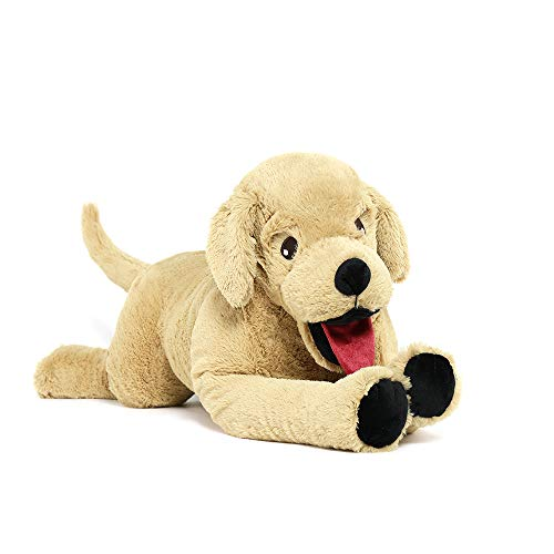 Lanmore 29'' Stuffed Dog Animals Golden Retriever Plush Toys Large Stuffed Puppy Goldendoodle Labrador Gift for Pets Kids Girls Light Brown (Large)