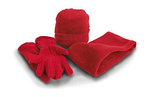 Result R40X Fleece-Winter-Set mit Mütze, Handschuhen und Halswärmer Gr. S, Rot/Rot
