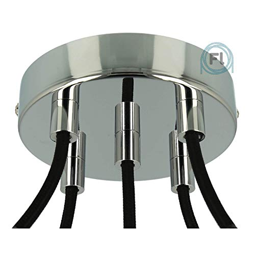 Flairlux Baldachin 5-fach chrom zur Montage von Pendelleuchten | Lampenbaldachin für alle Lampen geeignet | zur Lampenaufhängung an der Decke | Deckenrosette 120x25 mm inkl Metall Klemmnippel