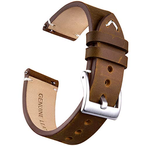20mm Genuine Leather Watch Bands Quick Release Leather Watch Straps Compatible with Timex Weekender Watch for Men