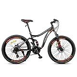 JLASD Bicicleta Montaña Bicicleta De Montaña, 26 Pulgadas Marco De Acero Al Carbono Hombres Mujeres Rígidas/Bicicletas, Suspensión De Doble Disco De Freno Y Completa, Velocidad 24 (Color : Black)