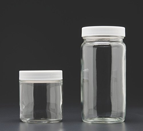 JG Finneran 9-194 Clear Borosilicate Glass Standard Tall Straight Sided Wide Mouth Jar with White Polypropylene Closure and 0.015
