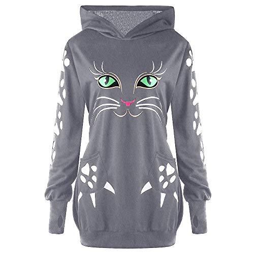 OverDose Damen Herbst Winter Individualität Stil Womens Sweatshirt Katze Print Hoodie mit Ohren mit Kapuze Pullover Tops Bluse Langarmshirts Tuniken
