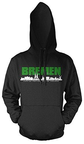 Bremen Skyline Kapuzenpullover | Hansestadt | Weser | Fussball | Ultras | Hemd | Männer | Herrn | Fan (L)