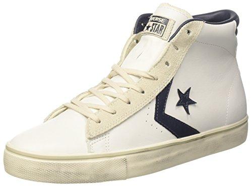 Converse PRO Lthr Vulc Mid, Sneaker a Collo Alto Unisex-Adulto, Bianco (White/Black/Turtledove 111), 38.5 EU
