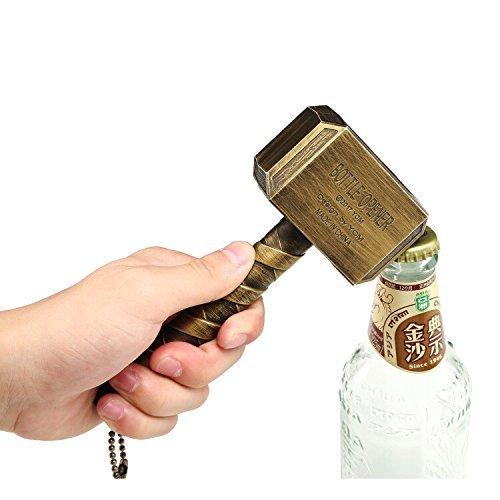 Martillo de Thor abrebotellas | Abridor de cerveza Big regalo perfecto Bar Vino Mjolnir bayram bronce 16.5x 7cm, Bronce