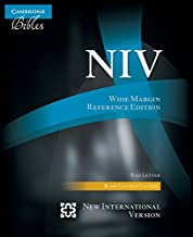 NIV Wide Margin Reference Bible, Black Calf Split Leather, Red-letter Text, NI744:XRM (Cambridge Bibles)