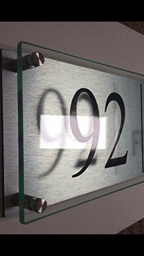 House Sign Plaque/Business en verre moderne acrylique en aluminium 500 mm/200 mm XL