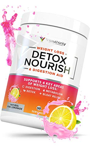 Detox Nourish Detox Cleanse Weight Loss Powder: Natural Digestive Enzyme Supplement with Apple Cider Vinegar to Support Healthy Weight Loss for Women and Men and Bloating Relief, Pink Lemonade, 50 SRV