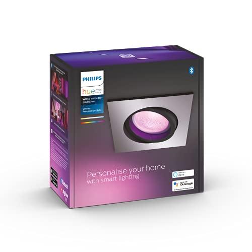 Philips Hue White and Color Ambiance Centura, Faretto ad Incasso Smart, Base Quadrata, con Bluetooth, 6 W, Alluminio