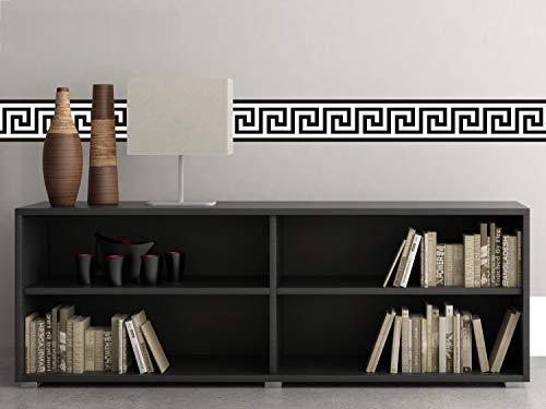 Sunny Decals Griechische Schlüssel-Wandbordüre Stoff-Wandtattoo (2 Stück), 63,5 cm x 16,8 cm, schwarz/weiß