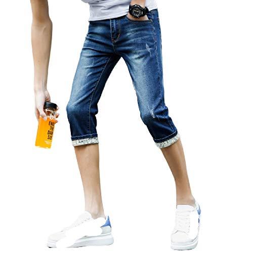 Pantalones Cortos de Mezclilla para Hombre, sección Delgada de Verano, Pantalones Cortos de Mezclilla nuevos y Atractivos, Pantalones Cortos elásticos Rasgados con Personalidad Simple 30