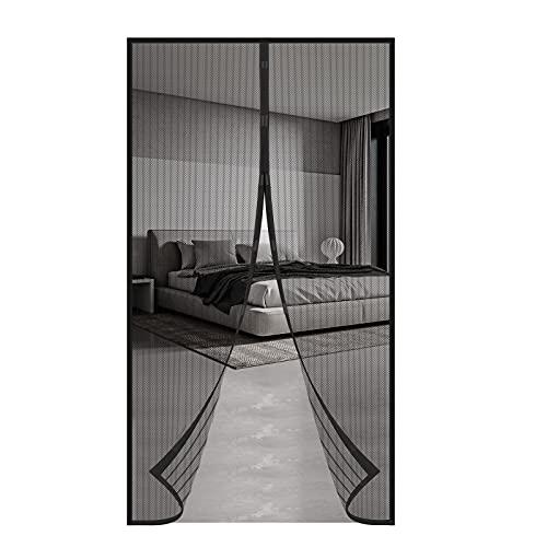 Mosquitera Magnética Puerta 100*210CM Cierre Automático Cortina Mosquitera Anti Mosquito Insecto para la Puerta del Balcón de la Sala de Estar (Negro)