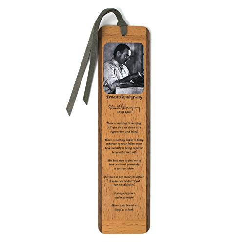 Author - Ernest Hemingway Portrait and Quotes, Color Wooden Bookmark with Suede Tassel