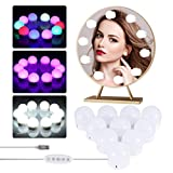 Luces LED Kit de Espejo, LEDGLE Luz Espejo Maquillaje, 3 Modos Ajustable de Color de Luz con USB Puerto, 10 Bombillas Regulables para Tocador Maquillaje para Espejo, Baño, Aficionados de Maquillarse