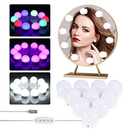 LEDGLE LED Spiegelleuchte, Hollywood Stil Schminklicht Lichte Beleuchtung Lampen mit weißem Licht, Schminktisch Leuchte 10 Dimmbar Spiegel Lampen für Badezimmer, Kosmetikspiegel, Schminktisch