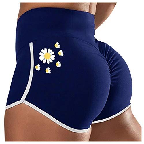 Geilisungren Yoga Shorts Damen Mode Gänseblümchen Streifen Sportshorts Leggins Hohe Taille Laufen Fitness Yoga Kurze Hosen Radlerhose Jogginghose Eng Hotpants