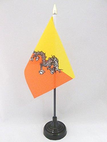 AZ FLAG TISCHFLAGGE Bhutan 15x10cm goldene splitze - KÖNIGREICH Bhutan TISCHFAHNE 10 x 15 cm - flaggen