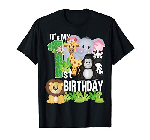 It's My 1st Birthday Party Jungle Safari Zoo Theme Bday Maglietta