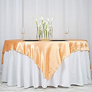 BalsaCircle 5 pcs 72x72 inch Peach Square Tablecloth Satin Table Overlays Linens for Wedding Table Cloth Party Reception Events Kitchen Dining