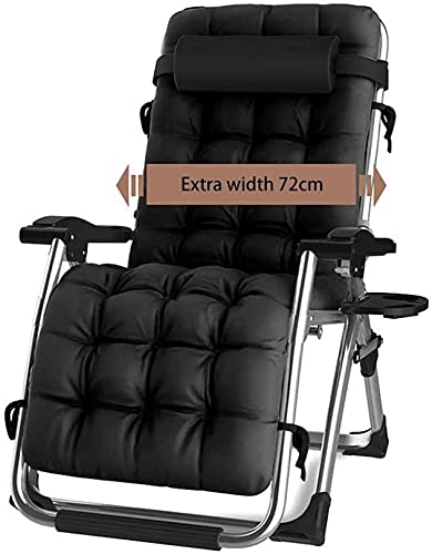XLYYHZ Silla Zero Gravity - Sillón para sombrilla para Patio, portavasos para Patio, Comedor Ajustable al Aire Libre, sillas Plegables reclinables para terraza, Patio, Playa (Negro)
