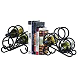 Oenophilia Scroll Bookend Tabletop Wine Rack – Heavy Durable Black Wrought Iron, Set of ...