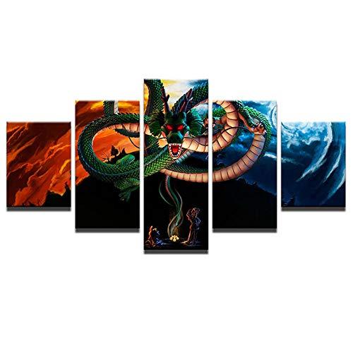 YQSL Leinwanddrucke Leinwand Gedruckt Malerei Bilder Wandkunst Kinderzimmer Dekor 5 Panel Drachen Cartoon Tsing Lung Kunst Poster Drucke auf Leinwand