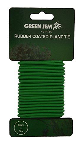 Green Jem Attache pour Plantes avec revêtement en Caoutchouc Vert 4 mm x 5 m Vert