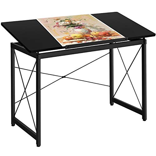 Yaheetech Drafting Draft Drawing Table Artist Desk Tilted Tabletop Art Desk Diamond Watercolor Paintings Sketching Work Station for Home Office 47 x 24 , Black