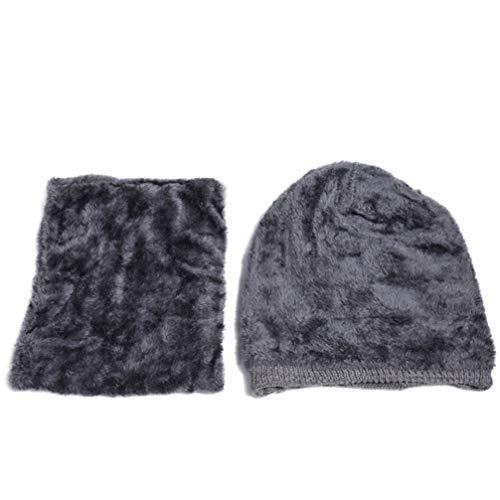 FENICAL 2 Set cálido Gorro de Invierno Conjunto de Gorro y Bufanda Lana Tejer Cuello Calentador Bufanda Calavera Gorra Disfraz de Deporte al Aire Libre para Hombres