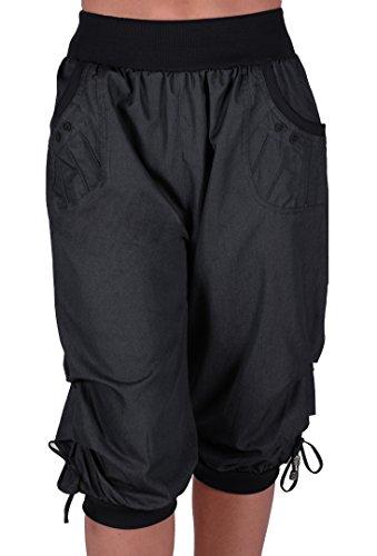 EyeCatchClothing Chicago Damen Capri Crop Shorts Haremshosen der Frauen 3/4 Dreiviertelhose Schwarz Gr. 46