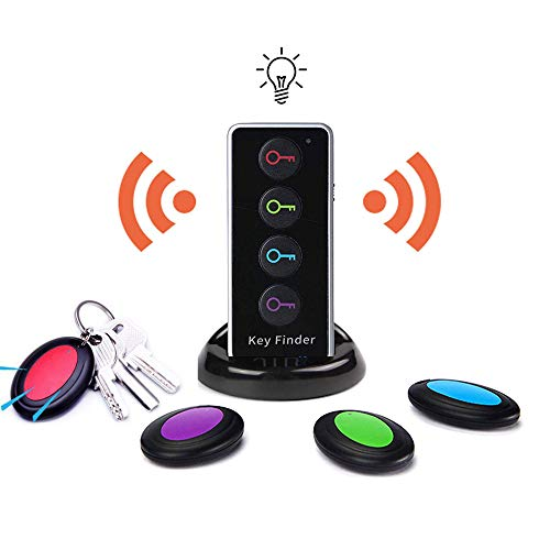 Key Finder, EIRIX Wireless RF Locator Item Tracker with Remote Control for Dogs, Kids, Cats, Luggage, Wallet, Car Keys, 1 RF Transmitter and 4 Receivers