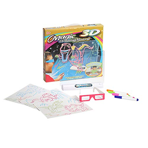 YOUNGE Magic 3D Drawing Board with Pen Sketchpad Tablet Light Effects Puzzle Board Kids Gifts LED Lights Glow Art Drawing Toys