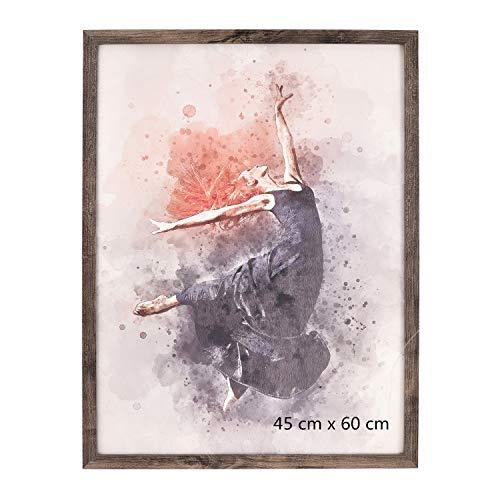 Metrekey Bilderrahmen 45 x 60 cm Groß Posterrahmen Wanddekoration aus Walnut Holz MDF und Plexiglasscheibe zum Poster Kunstdrucke Hochzeitsfoto Familienfoto Abschlussfoto
