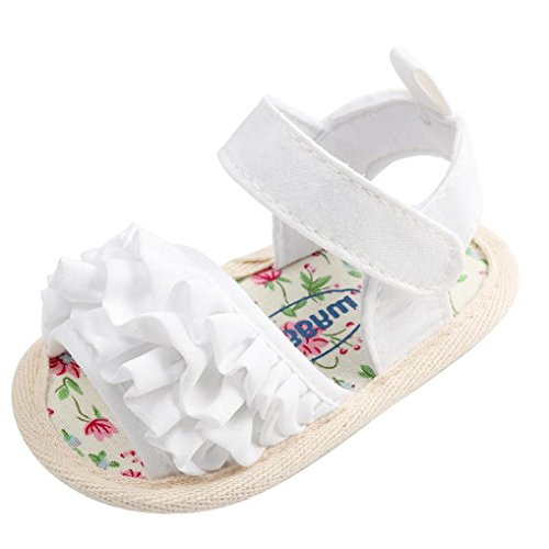 FNKDOR Baby Mädchen Blumen Sandalen Neugeborene Krabbelschuhe Erste Schuhe(6-12 Monate,Weiß)