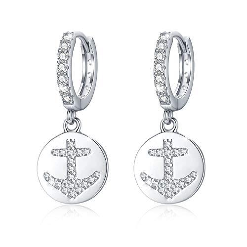 Anker Creolen Ohrringe für Damen 925 Sterling Silber Cubic Zirkonia Ohrringe Kleine Creolen Ohrringe Kreolen Geschenke für Frauen Mädchen