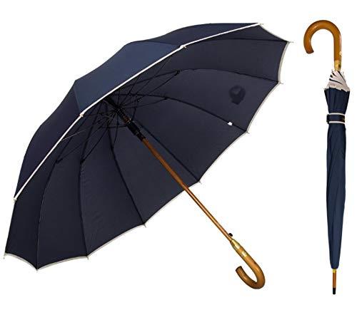 ADRIANO PORCARO® - XXL Automatik Regenschirm windfest Damen & Herren - windsicher Holz Stockschirm - 12 fache Verstrebung Fiberglas - groß stabil & windresistent sturmfest - 115cm Ø (Blau)