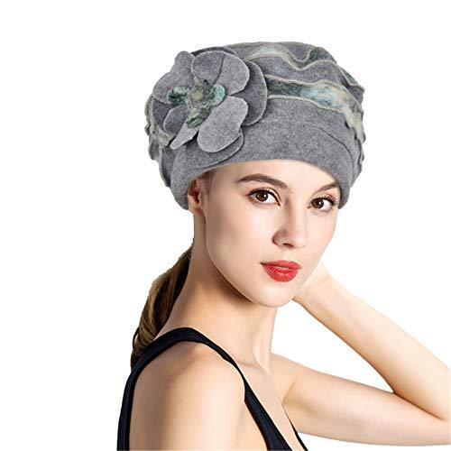 Secret night Damen Wollhut mit Blumenmotiv, warm, faltbar, für Herbst und Winter, Grau, Einheitsgröße