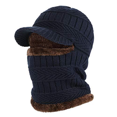 AYPOW Sombrero Tipo Gorro de Invierno con pasamontañas y Calentador de Cuello Flexible, máscara de esquí Unisex cálida a Prueba de Viento para Deportes al Aire Libre - Azul Marino