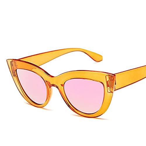 HAIGAFEW Gafas De Sol De Ojo De Gato para Mujer Gafas De Sol De Espejo Plateadas De Forma Mediana Y Gruesa Gafas De Mujer Proteger Los Ojos-Naranja