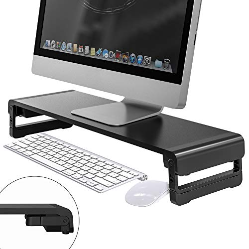 Monitor Stand, MiiKARE Aluminium Alloy Monitor Riser 3 Height Adjustable for Laptop, PC, Computer, Ergonomic Desktop Stand for Keyboard Storage & Multi-Media Printer TV Screen