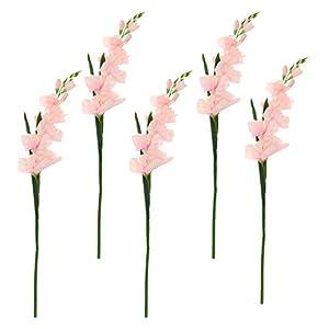Silk Flower Arrangements Bhuuno Artificial Plants & Flowers Wedding Flower Gladioli Gladiolus Stem, Pack of 5