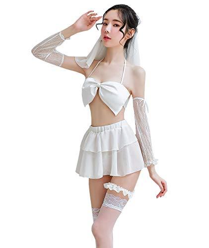 YUANMO Disfraces sexy erticos de cosplay, lencera de novia para mujer, disfraz sexy para mujer con velo de novia
