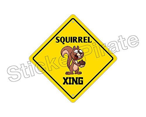 Cortan360 Squirrel Crossing Funny Novelty Sign Vinyl Retro Sticker Sign