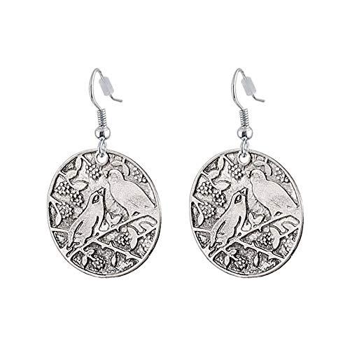 Fascino Stile vintage Orecchini rotondi antichi in argento Orecchini a vento rurali Gioielli etnici femminili Regalo di compleanno